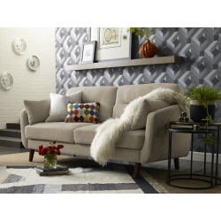 Elle Décor Chloe Mid-Century Modern Sofa, Beige/Chestnut