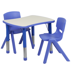 "Flash Furniture Rectangular Height-Adjustable Activity Table Set With 2 Chairs, 23-1/2""H x 21-7/8""W x 26-5/8""D, Blue"