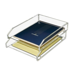 "Kantek 2-Tier Letter Trays, 2-1/2""H x 10-1/2""W x 13-3/4""D, Clear, Pack Of 2 Trays"