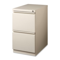 "Lorell® 19-7/8""D Vertical 2-Drawer Mobile Pedestal File Cabinet, Metal, Putty"