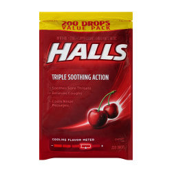Halls Cough Suppressant Cherry Triple-Soothing Cough Drops, Pack Of 200 Cough Drops