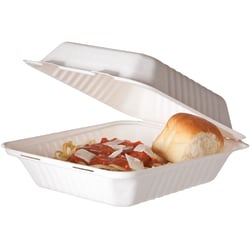 """Eco-Products Sugarcane Clamshell Containers, Soak-Proof/Hinged, 3""""H x 8""""W x 8""""D, Pack Of 200 Containers"""