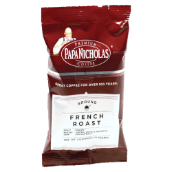 PapaNicholas Coffee French Roast Coffee Packets, 2.5 oz, Pack Of 18