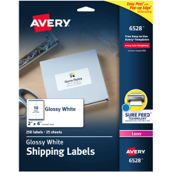 "Avery® Glossy Permanent Labels, 6528, Mailing, 2"" x 4"", White, Pack Of 250"