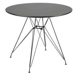Lumisource Avery Mid-Century Modern Dining Table, Round, Walnut/Black