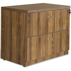 "Lorell® Chateau 36""W Lateral 2-Drawer File Cabinet, Walnut"