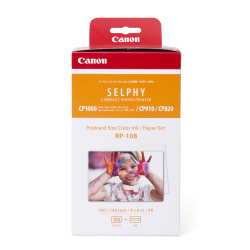 Canon RP-108 Cyan/Magenta/Yellow Ink Ribbons And Paper Set