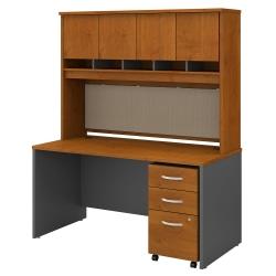 "Bush Business Furniture Components 60""W Office Desk With Hutch And Mobile File Cabinet, Natural Cherry/Graphite Gray, Premium Installation"