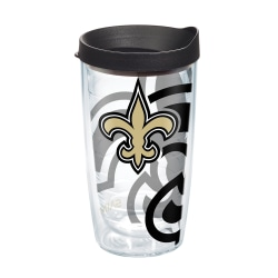 Tervis NFL Tumbler With Lid, 16 Oz, New Orleans Saints, Clear