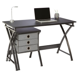 "Brenton Studio® X-Cross 48""W Desk And File Set, Black"