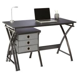 """Brenton Studio® X-Cross 48""""W Computer Desk With File Cabinet, Black"""