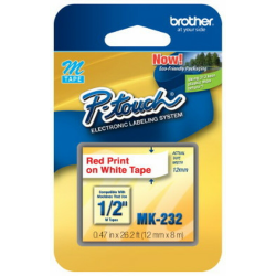 """Brother® MK-232 Red-On-White Tape, 0.5"""" x 26.2'"""