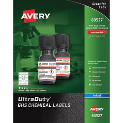 """Avery® UltraDuty® GHS Chemical Labels, 60527, For Inkjet Printers, 1"""" x 2 1/2"""", White, Pack Of 600"""