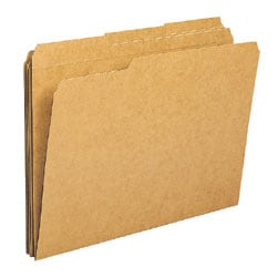 "Office Depot® File Folders, 1/3 Cut, Legal Size (8-1/2"" x 14""), 3/4"" Expansion, Kraft, Box Of 100"