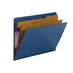 """Smead® End-Tab Classification Folders, 2"""" Expansion, 2 Dividers, 8 1/2"""" x 11"""", Letter, 100% Recycled, Dark Blue, Box of 10"""