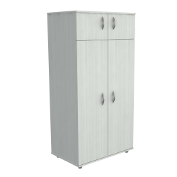 "Inval Wooden Wardrobe/Armoire, 2 Fixed Shelves, 4 Doors, 63""H, Laricina White"