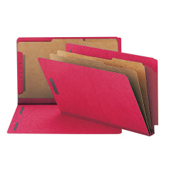 """Smead® End-Tab Classification Folders, 8 1/2"""" x 14"""", 2 Divider, 2 Partition, 50% Recycled, Bright Red, Pack Of 10"""