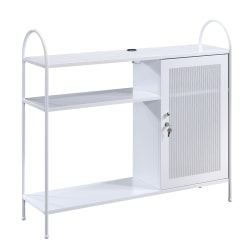 Sauder® Cottage Road Storage Cabinet With USB Ports, 4 Fixed Shelves, White