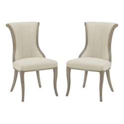 Linon London Flared-Back Dining Chairs, Light Natural Brown/Natural, Set Of 2 Chairs