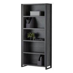 "Realspace® DeJori 70""H 5-Shelf Bookcase, Charcoal"
