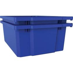 """Lorell™ Plastic Storage Bin, 12 1/4"""" x 16 3/4"""" x 6"""", Blue"""