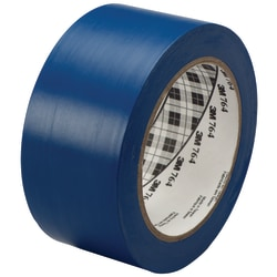 "3M™ 764 Vinyl Tape, 3"" Core, 2"" x 36 Yd., Blue, Case Of 24"
