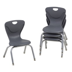 "Factory Direct Partners 12"" Contour Chairs, Gray, Pack Of 4 Chairs"