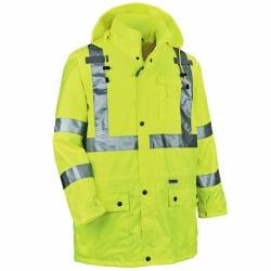 Ergodyne GloWear® 8365 Type R Class 3 High-Visibility Rain Jacket, 5X, Lime
