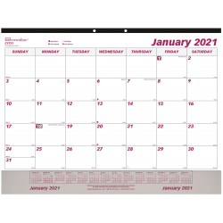 """Brownline Vinyl Strip Monthly Desk Pad - Julian Dates - Daily, Monthly - 1 Year - January 2021 till December 2021 - 1 Month Single Page Layout - 22"""" x 17"""" Sheet Size - Desk Pad, Wall Mountable - White - Chipboard"""