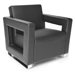 OFM Distinct Series Lounge Chair, Black/Chrome