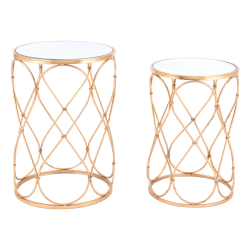 Zuo Modern Twist End Tables, Round, Gold, Set Of 2 Tables