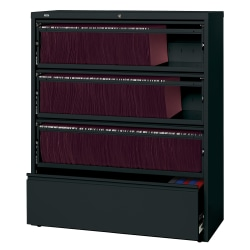 "Lorell® Fortress 42""W Lateral 4-Drawer File Cabinet With Roll-Out Shelves, Metal, Black"