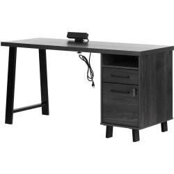 """South Shore Kozack 60""""W Computer Desk, Gray Oak"""