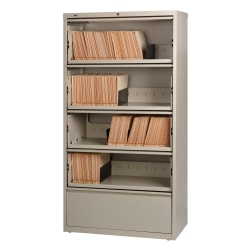 """Lorell® Fortress 36""""W Lateral 5-Drawer File Cabinet With Roll-Out Shelves, Metal, Putty"""
