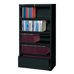 "Lorell® Fortress 36""W Lateral 5-Drawer File Cabinet With Roll-Out Shelves, Metal, Black"