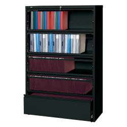 "Lorell® Fortress 42""W Lateral 5-Drawer File Cabinet With Roll-Out Shelves, Metal, Black"