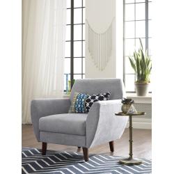 Elle Décor Amelie Mid-Century Modern Arm Chair, Light Gray/Chestnut