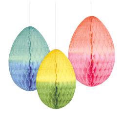 Amscan Honeycomb Easter Eggs, Multicolor, 3 Eggs Per Pack, Set Of 2 Packs