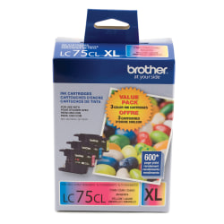 Brother® LC75 Cyan/Magenta/Yellow Ink Cartridges, Pack Of 3