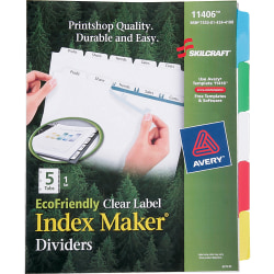 SKILCRAFT® Index Maker Label Dividers, Clear, Set of 5