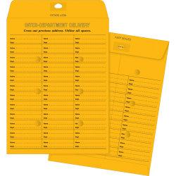 "Business Source 28lb Kraft Interdepartmental Envelopes - Inter-department - #28 - 10"" Width x 13"" Length - 28 lb - Self-sealing - Kraft - 100 / Box - Brown Kraft"