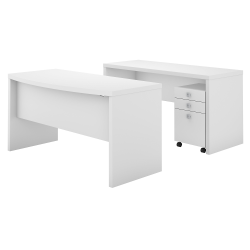 kathy ireland® Office by Bush Business Furniture Echo Bow Front Desk And Credenza With Mobile File Cabinet, Pure White, Standard Delivery