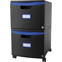 "Storex 26""D Vertical 2-Drawer Mobile File Cabinet, Plastic, Blue/Black"