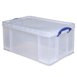 "Really Useful Box® Plastic Storage Box, 64 Liters, 28"" x 17 5/16"" x 12 1/4"", Clear"