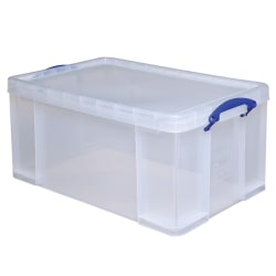 """Really Useful Box® Plastic Storage Container With Handles/Latch Lid, 28"""" x 17 5/16"""" x 12 1/4"""", Clear"""