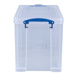 """Really Useful Box® Plastic Storage Container With Built-In Handles And Snap Lid, 19 Liters, 14 1/2"""" x 10 1/4"""" x 11 1/8"""", Clear"""