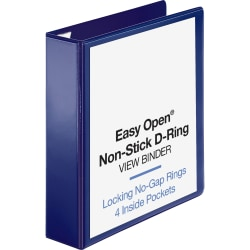 """Sparco Easy-Open Nonstick View 3-Ring Binder, 2"""" D-Rings, Navy"""