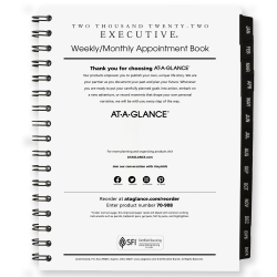 """AT-A-GLANCE® Executive Weekly/Monthly Appointment Book Refill, 6-1/2"""" x 8-3/4"""", January To December 2022, 7090810"""