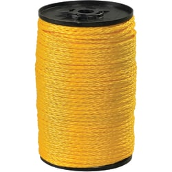 "Office Depot® Brand Hollow Braided Polypropylene Rope, 1,000 Lb, 1/4"" x 1,000', Yellow"