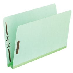 """Pendaflex® File Folders With Fasteners, Letter Size, Straight Cut, 2"""" Expansion, 60% Recycled, Light Green, Box Of 25 Folders"""